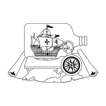 caravel ship antique in bottle vector illustration design Ilustrace