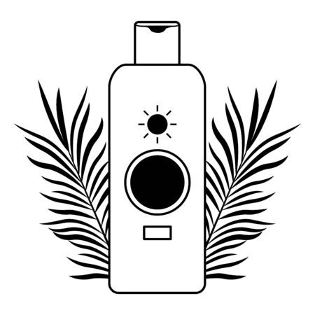 Sun bronzer product with tropical leaves cosmetic product ,vector illustration graphic design.