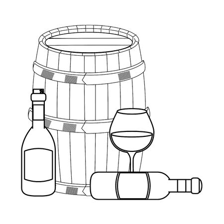 glass with wine bottles and wooden barrel over white background, vector illustration Standard-Bild - 131982884