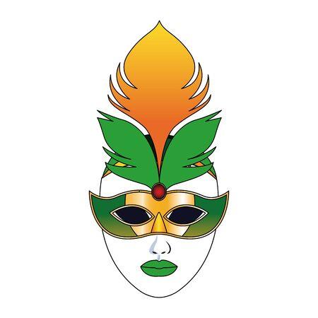 colorful design of carnival mask icon over white background, vector illustration Çizim
