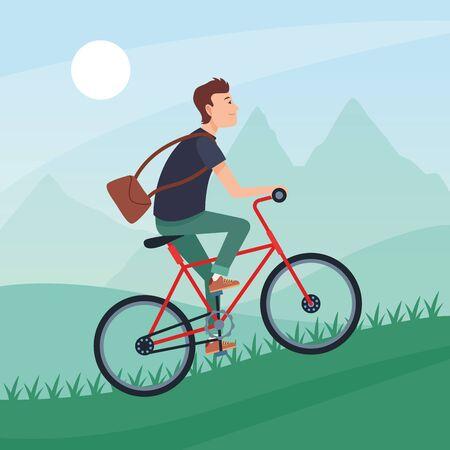sport outdoor sportive bicycle ride activity, man riding and climbing mountain cartoon vector illustration graphic design Banco de Imagens - 131983061