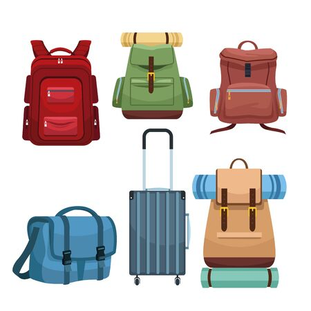 Travel camping backpacks and luggage set of icons illustration graphic design.