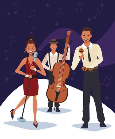 Jazz music band with musicians with cello and maracas and singer woman, colorful design.