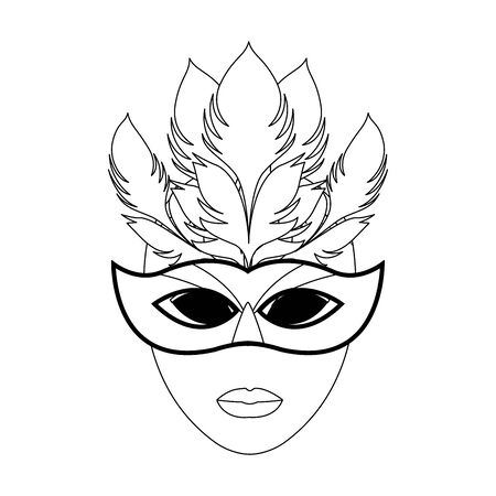 Mardi gras mask with feathers icon over white background, vector illustration