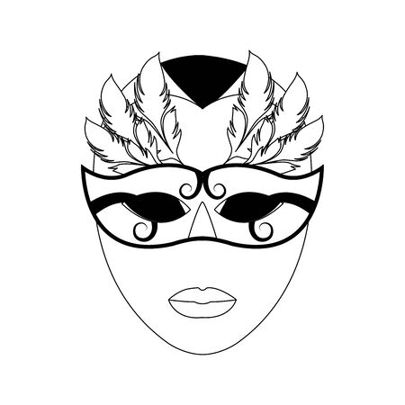 face with carnival mask icon over white background, vector illustration Stok Fotoğraf - 132050900