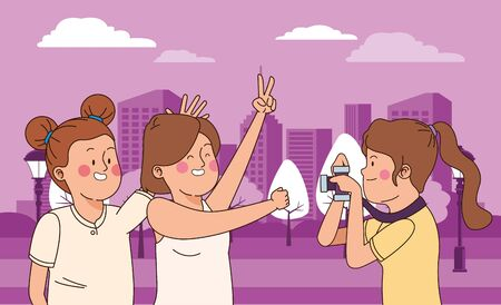 Teenagers friends smiling and taking photos with camera in the city park, urban cityscape scenery background ,vector illustration graphic design. Vettoriali