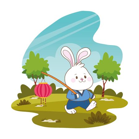 Mid autumn cute rabbit holding paper lantern cartoon in the forest, landscape background vector illustration graphic design. 向量圖像