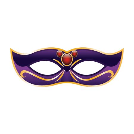 simple Mardi gras mask icon over white background, colorful design. vector illustration