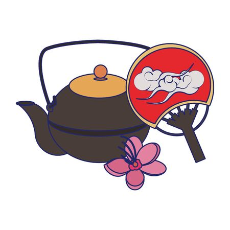 Japanese Uchiwa Fan and cast iron teapot icon over white background, vector illustration Banque d'images - 132050908