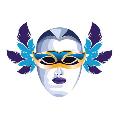 Icon of masquerade mask with feathers over white background, colorful design. vector illustration