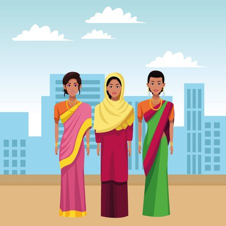 indian indian woman wearing traditional hindu clothes women wearing sari and jewelry and woman wearing hiyab profile Banco de Imagens - 132050916
