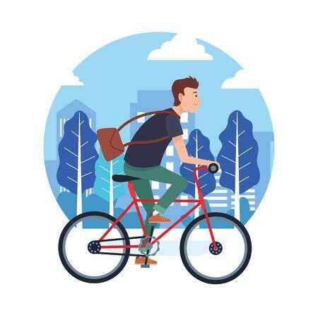 sport all'aperto attività sportiva in bicicletta, guida con la bicicletta nel parco urbano della città fumetto illustrazione vettoriale graphic design