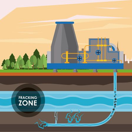Fracking zone, oil pump with water tank extracting petroleum from suboil with pipes. vector illustration graphic design Stok Fotoğraf - 132050938