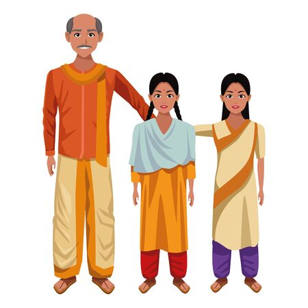 indian family man with moustache and bald next to young girl with braid and young girl with sari and bindi wearing traditional 矢量图像