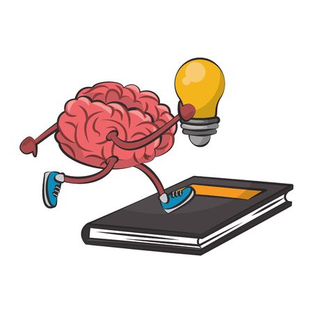 Brain with bulb light running on book cartoon vector illustration graphic design