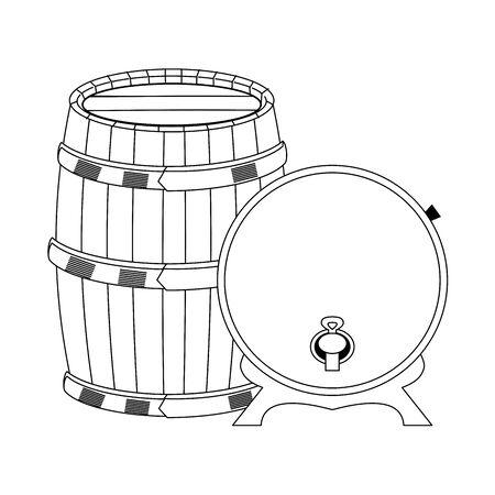 wooden barrel and wine wooden barrel dispenser over white background, vector illustration Ilustrace