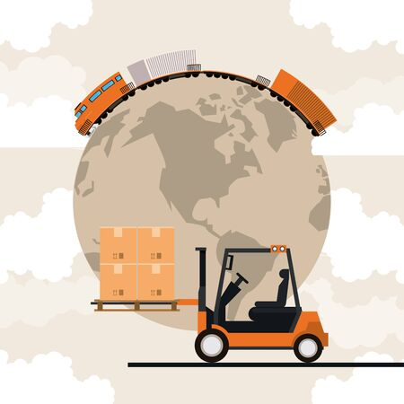 transportation cargo merchandise logistic train with forklift making travel around world with merchancy boxes cartoon vector illustration graphic design  イラスト・ベクター素材