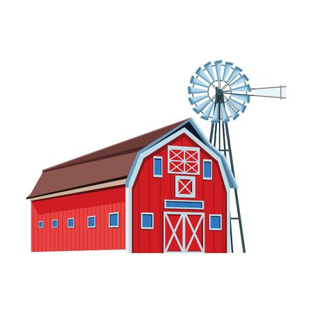 wooden farm barn and wind water pump icon over white background, vector illustration 向量圖像
