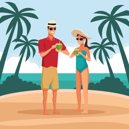 Young couple at beach with coconut cocktails, summer and vacations cartoons. vector illustration graphic design Иллюстрация