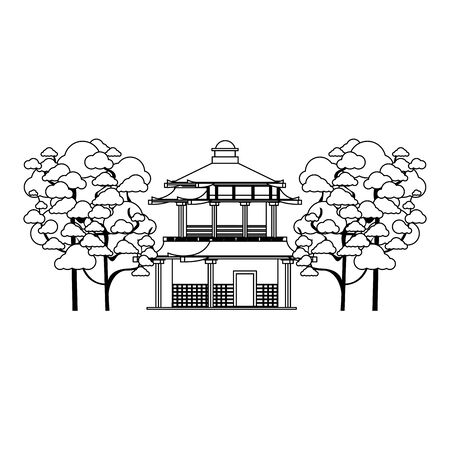 Traditional japanese house style with blossom Sakura trees over white background, vector illustration