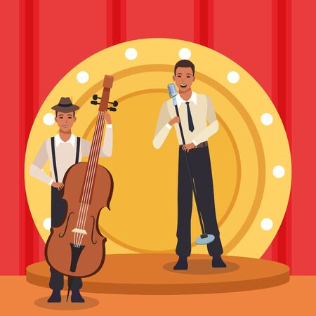 show of jazz band with singer and musician with cello instrument, colorful design. vector illustration 向量圖像