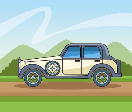 Antique classic car vehicle sideview riding on path landscape background ,vector illustration graphic design. Ilustração