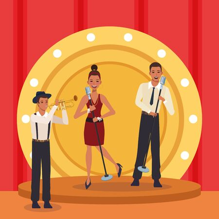 Jazz music band design with woman and man singers and trumpeter in stage, colorful design. vector illustration