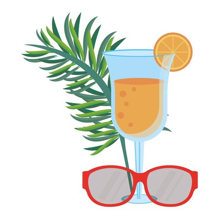 Summer leaves cocktail and sunglasses with cocktail cartoons vector illustration graphic design