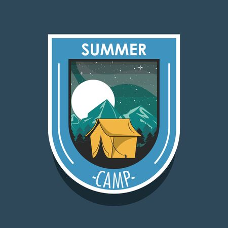 Camping explore summer patch emblem tent in nature at night on blue background vector illustration graphic design