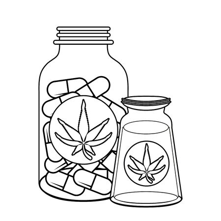 cannabis martihuana medical marijuana medicine sativa hemp oil and pills bottles cartoon vector illustration graphic design