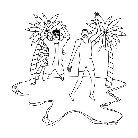 Young men friends enjoying summer and jumping in swimsuit in the beach scenery vector illustration graphic design