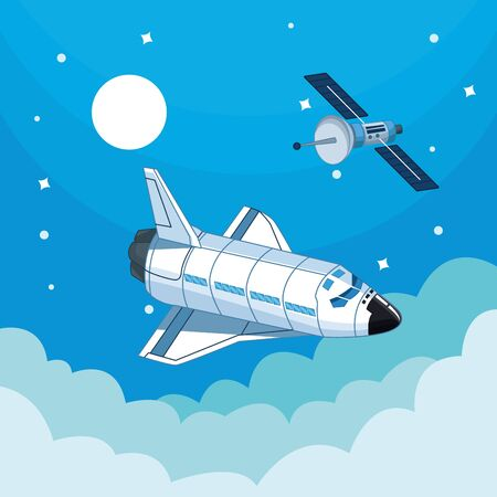 Spaceship flying in the clouds with moon and stars vector illustration graphic design Ilustração
