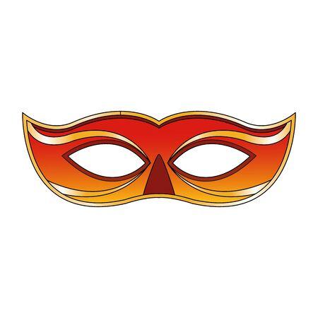 orange carnival mask icon over white background, vector illustration Stok Fotoğraf - 132053737