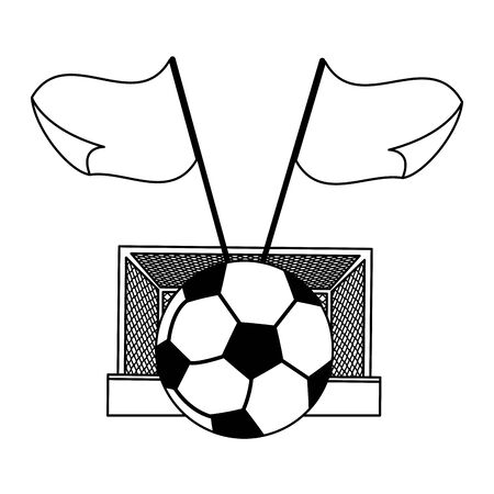 Soccer with goal ball and flags cartoons vector illustration graphic design Çizim