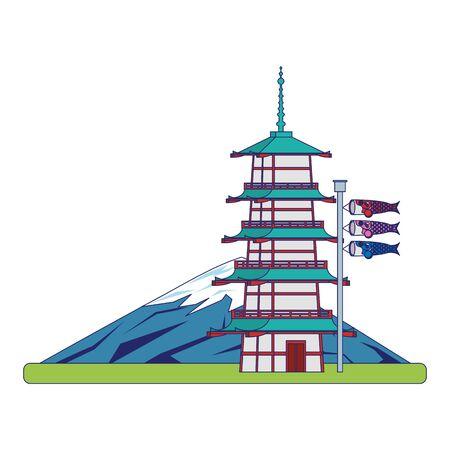 Mountain fuji with pagoda Japanese koinobori flag over white background, vector illustration