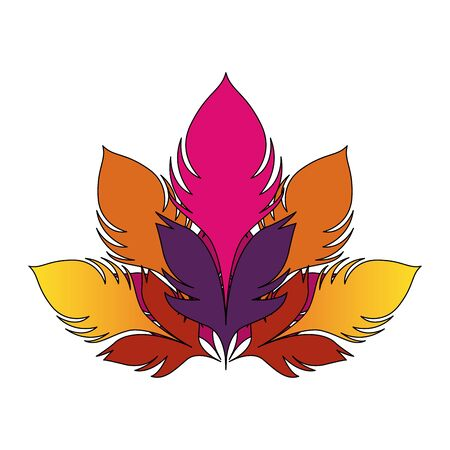 colorful feathers icon over white background, vector illustration