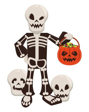 funny costume of skull halloween character vector illustration design Фото со стока - 132108108