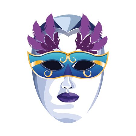 Icon of masquerade mask with colorful feathers over white background, vector illustration Stockfoto - 132108137