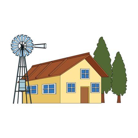 wind water pump and farm house icon over white background, colorful design. vector illustration