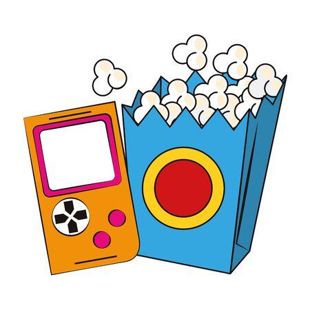 retro videogame and pop corn box over white background, colorful design. vector illustration