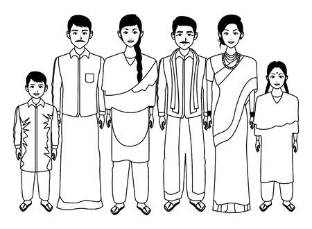 indian asian religion oriental culture, traditional family parents, mothers and fathers with children cartoon vector illustration graphic design Illustration