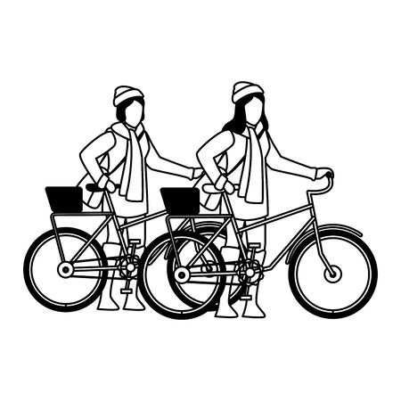 happy young girls with autumn clothes in bicycle vector illustration design Ilustracja