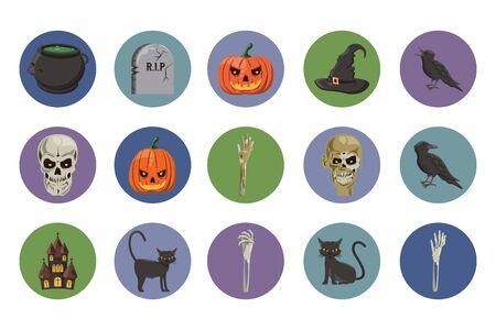 bundle of halloween set icons vector illustration design Фото со стока - 132108156