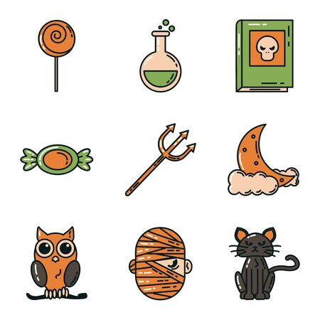 bundle of halloween set icons vector illustration design Фото со стока - 132108164