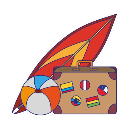 Summer and travel suitcase beach ball and surf table cartoons vector illustration graphic design Illustration
