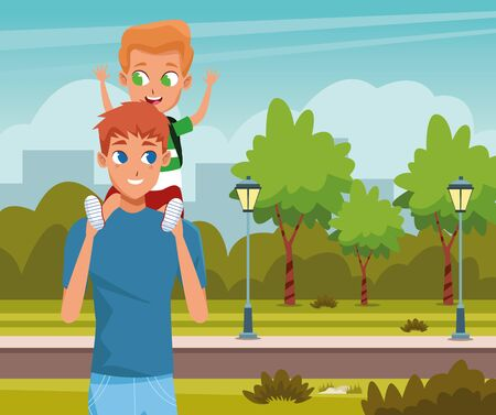 the first day of class and father and son in nature illustration graphic design
