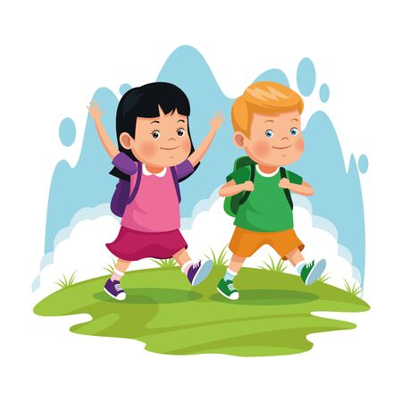 children on school field trip couple students with bag outdoor avatar cartoon character