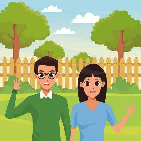 Young executive man and woman couple smiling and greeting cartoon in the garden scenery background illustration graphic design.