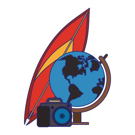 Summer surf table earth globe and camera cartoons illustration graphic design