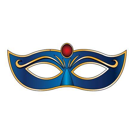 blue carnival mask icon over white background Çizim